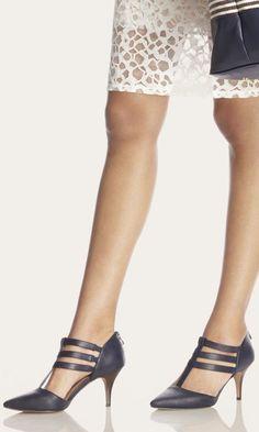 black leather mid heel