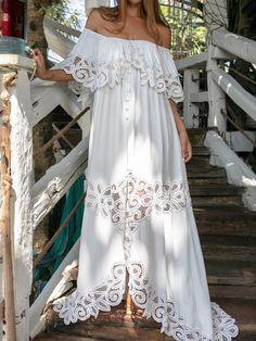 Wedreammore Women Off Shoulder Maxi Dress Pierced Flower Vintage Elegant White Dress Elegant Maxi Dress, White Maxi Dresses, Women's Dresses, Dresses Online, Casual Dresses, Fashion Dresses, Summer Dresses, Formal Dresses, White Dress