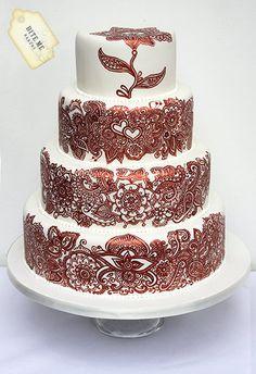 Indian Weddings Inspirations. Henna Inspired Wedding Cake. Repinned by #indianweddingsmag indianweddingsmag.com