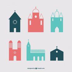 Pack de iconos de edificios cristianos Vector Gratis