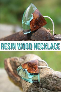 Blue Resin & Wood Necklace. This statement necklace would add beauty to your work wear, add a dramatic touch to your evening wear or you could brighten up your casual look. #ad