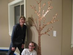So Want to do this!!!  Penny Floor with an accent tree on the wall.  I could also do flowers or this could be bigger and made into a family tree with pictures on it - It's on!