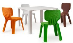 Spanish designer Javier Mariscal designed these whimsical childrens' chairs for the Me Too series of furniture by Magis. European Furniture, Italian Furniture, Kids Furniture, Furniture Design, Outdoor Furniture, Toddler Table And Chairs, Kid Table, Table And Chair Sets, Furniture Manufacturers