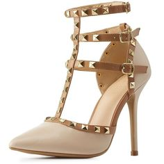 Charlotte Russe Nude Combo Studded Strappy Pointed Toe Pumps by Wild... ($39) ❤ liked on Polyvore featuring shoes, pumps, strappy pumps, t strap pumps, t strap shoes, sexy pumps and nude shoes