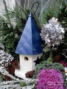 Birdhouse in a winter window box (Garden of Len & Barb Rosen)