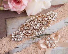 Wedding Garter set, Rose Gold Bridal Garter set, Blush Lace Garter set…