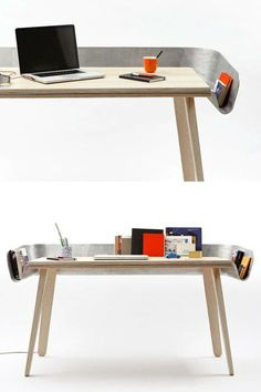 Tomas Kral's Homework Desk: Made from cast aluminum sandwiched between two s. Tomas Kral's Homework Desk: Made from cast aluminum sandwiched between two sheets of ash, it contains a s