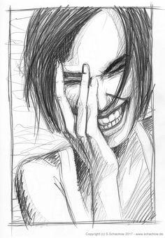 Bleistiftzeichnung einer lachende Frau Portrait, Collage, Marketing, Drawings, Illustration, Art Ideas, Sketch, Photos, Doodles