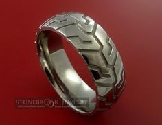 Tire Tread Styled Titanium Ring Manly This Should Have Been My Sons Wedding Band Hes Been A