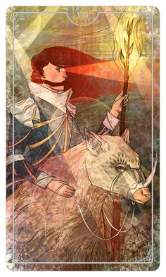 Knight of Wands design for the Ostara Tarot deck, by Julia Iredale