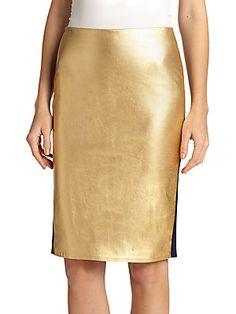 Ralph Lauren Eva Metallic Leather Pencil Skirt