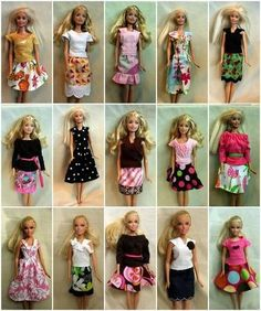 Barbie clothes with tutorial links