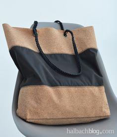 halbachblog I DIY-Tutorial: Shopper aus Korkstoff nähen I mit schwarzem Stoff und geflochtenem Makramee-Henkel