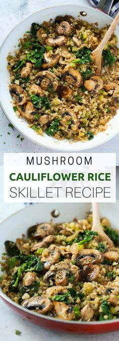 "This Mushroom Cauliflower ""Rice"" Skillet is a delicious low-carb and vegan/v. This Mushroom Cauliflower ""Rice"" Skillet is a delicious low-carb and vegan/vegetarian main dish for dinner. And it's done in only 20 minutes. Healthy Rice Recipes, Paleo Recipes, Whole Food Recipes, Cooking Recipes, Recipes Dinner, Low Carb Vegitarian Recipes, Lunch Recipes, Skillet Recipes, Cauliflour Rice Recipes"