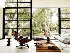 Eames Lounge Chair, Eames Walnut Stools, & Eames Sofa
