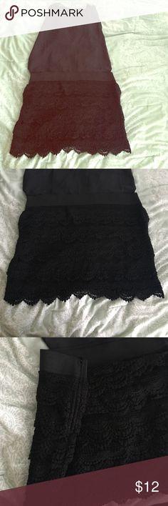 🎉HP 🎉 Crochet black mini skirt Adorable black crochet mini skirt. Elastic waist and side zip closure. In excellent condition. Charlotte Russe Skirts Mini