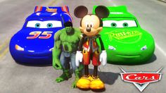 HULK & Mickey Mouse FUN!! Custom Green Lightning McQueen CARS Colors! + ...