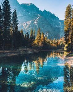 Calmness on the Merced River, Yosemite National Park.