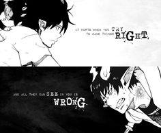 """It hurts when you try to make things right, and all they can see in you is wrong."" Manga: Ao no Exorcist (Blue Exorcist)"