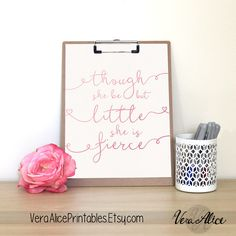 Though She Be But Little Printable Wall Art Rose Gold Nursery Nursery Art Nursery Quote Quote Prints Nursery Decor PInk Glitter Art by VeraAlicePrintables