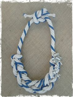 Rope necklace Statement necklace navy necklace by CRAZYBOOM