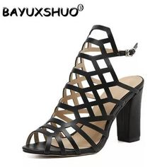 Women Slingback Buckle Sandals Sexy Hollow Square Heel Sandals Gladiator  High Heels Wedding Party Work Shoes Woman 29  0dab78636141