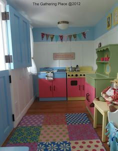 playhouse decor idea..the walls and colors. wood floors are amazing, but a bit over the top perhaps :)