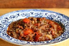 Turkish lentil stew recipe with eggplant and pomegranate molasses. ~ SimplyRecipes.com