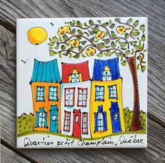"""Tuile céramique peint à la main, 6"""" x 6"""", Maisons, Quartier petit Champlain Québec, Sous-plat, tuile décorative, de la boutique IsamaloArtiste sur Etsy"""