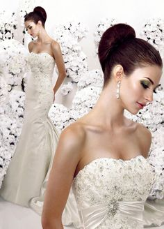 Strapless with empire waist mermaid style bridal gown
