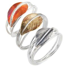 Women's Silver Ring by Caroline Royal Set of 3 - Autumn Leaves Rings (£190) ❤ liked on Polyvore featuring jewelry, rings, accessories, silver, silver twist ring, oxidized silver jewelry, silver jewelry, twist rings and silver leaf jewelry