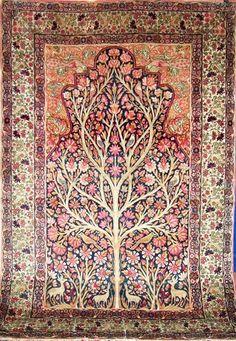 قالی کرمان - محرابی - درختی درخت زندگی  kerman's carpet