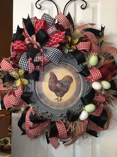 Excited to share this item from my shop: Red Rooster wreath with red n black poly burlap n frayed burlap. Has ribbon tails and big bow. Butterflies and eggs to grace your farmhouse Wreath Crafts, Diy Wreath, Door Wreaths, Burlap Wreaths, Wreath Making, Black Wreath, Rose Gold Decor, Silk Floral Arrangements, Summer Wreath