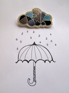 Rain cloud geometric brooch hand embroidered by AnAstridEndeavor