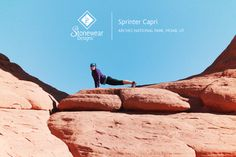 In Arches National Park doing some yoga and enjoying my Stoneware Designs capri's!