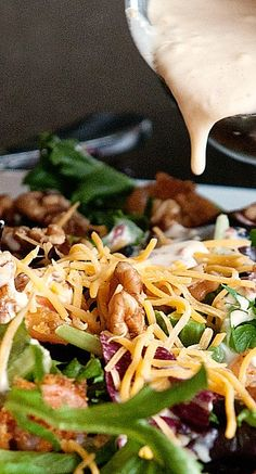shrimp walnut salad with cheddar jack bacon dressing....