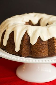 Gingerbread Bundt Cake with Cream Cheese Icing - A perfect holiday dessert!   browneyedbaker.com