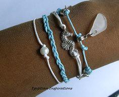 Sea glass bracelet. Seahorse bracelet with stars and beach glass. Beach glass jewelry.