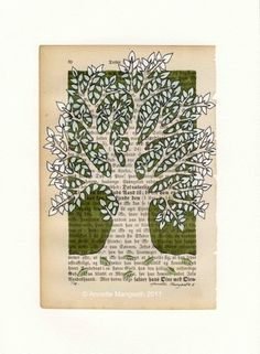 olive tree by Carambatack Design from Norway. olive tree drawing and painting on old book pages