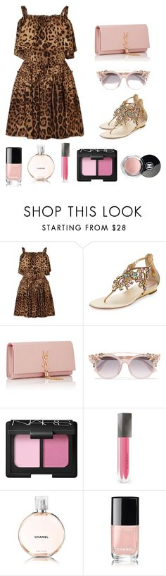 """""""leopard"""" by milamoda ❤ liked on Polyvore featuring Dolce&Gabbana, René Caovilla, Yves Saint Laurent, Jimmy Choo, NARS Cosmetics, Burberry and Chanel"""