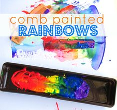 Rainbow painting using combs. summer crafts, little crafts, rainbow crafts, preschool crafts, craft ideas, spring crafts, kids art activities, kid crafts, rainbow paint
