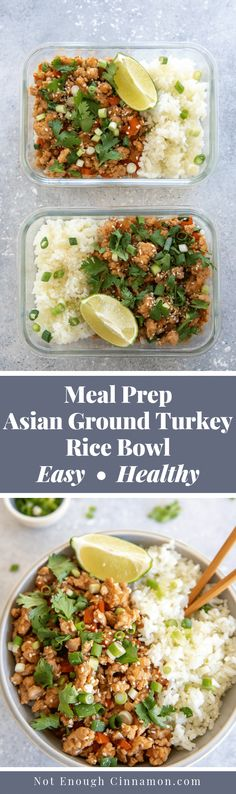 This easy Asian Ground Turkey Rice Bowl recipe is a quick, healthy and convenient weeknight dinner that comes together in only 20 minutes! You can prep this on the weekend for nutritious and delicious lunches throughout the week. Gluten-free and Clean Eat Easy Meal Prep, Healthy Meal Prep, Easy Healthy Recipes, Asian Recipes, Quick Recipes, Healthy Cooking, Healthy Choices, Free Recipes, Healthy Food