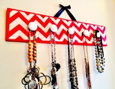 Red chevron necklace hanger board DIY with glitter :)