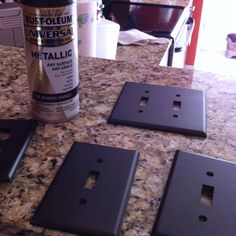Melanie's weekend DIY. I used Rustoleum Oil Rubbed Bronze for plastic to give all my white faceplates an upgraded look!