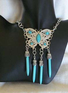Humongous  Butterfly Filigree Pendant With Spikes by SilverSilk21