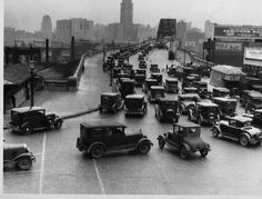 Heavy traffic on the Detroit-Superior Bridge on the corner of Detroit Avenue and West 25th Street in Cleveland, Ohio in 1930.