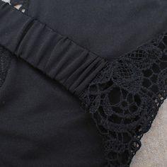 Black Plain Cross Back Backless Crop Lace Vest