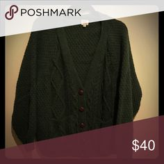 Hunter Green Knit Cardigan Sweater Size Medium Hunter Green Cardigan Knit Sweater with Brown Leather Buttons in Great Condition Urban Outfitters Sweaters Cardigans