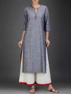 Ivory-Red Elasticated Tie-Up Waist Cotton Pants Modest Outfits, Cool Outfits, Khadi Kurta, Salwar Kameez, Indian Tunic Tops, Kurta Style, Pakistani Outfits, Kurta Designs, Cotton Pants