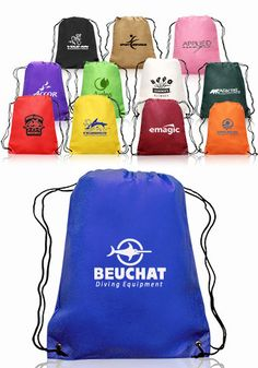 Non woven promotional drawstring backpacks in bulk. Order custom printed with your logo design or message. Guaranteed lowest prices and Free Shipping.